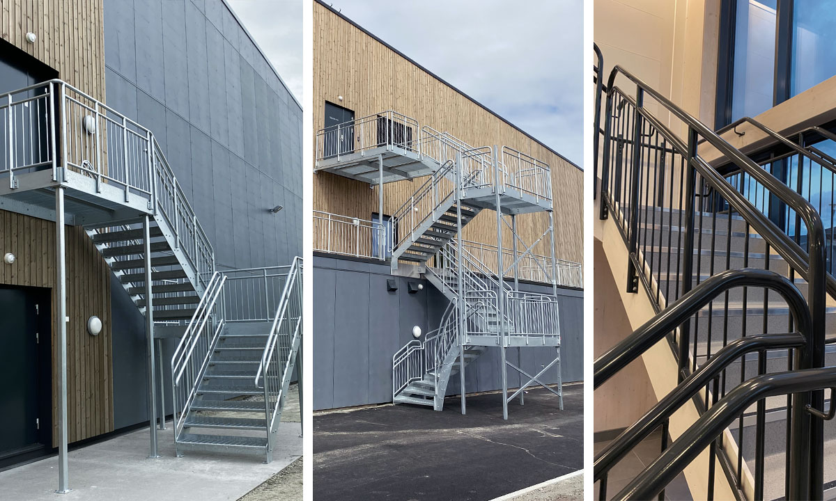 Straight staircases and railings