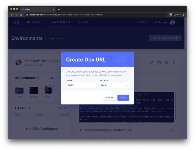 Create Dev URL Screen