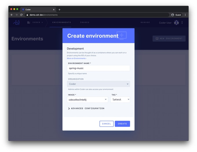 Create Environment Screen