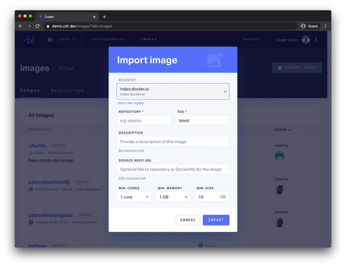 Import Image Screen