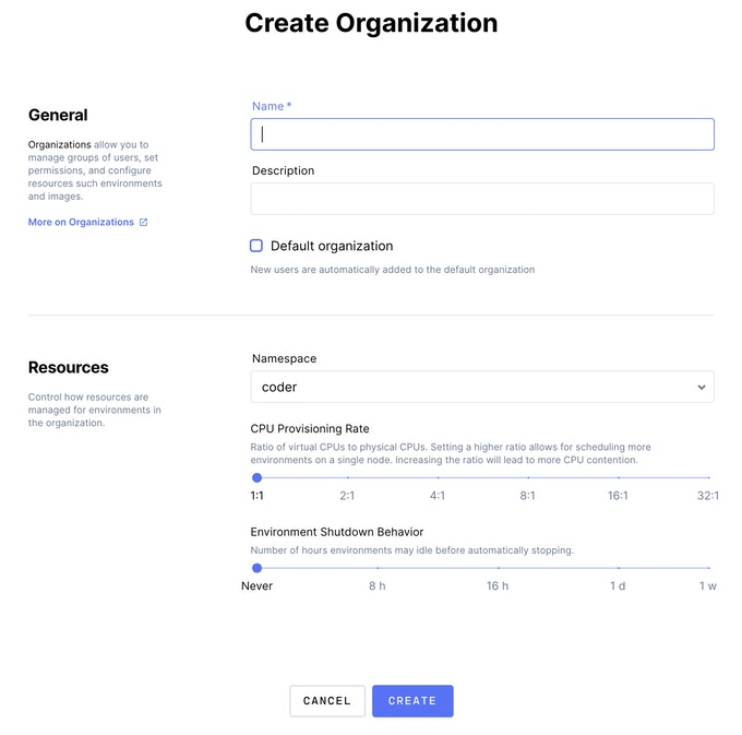 Screenshot of the new Create Organization view in Coder Enterprise v1.10
