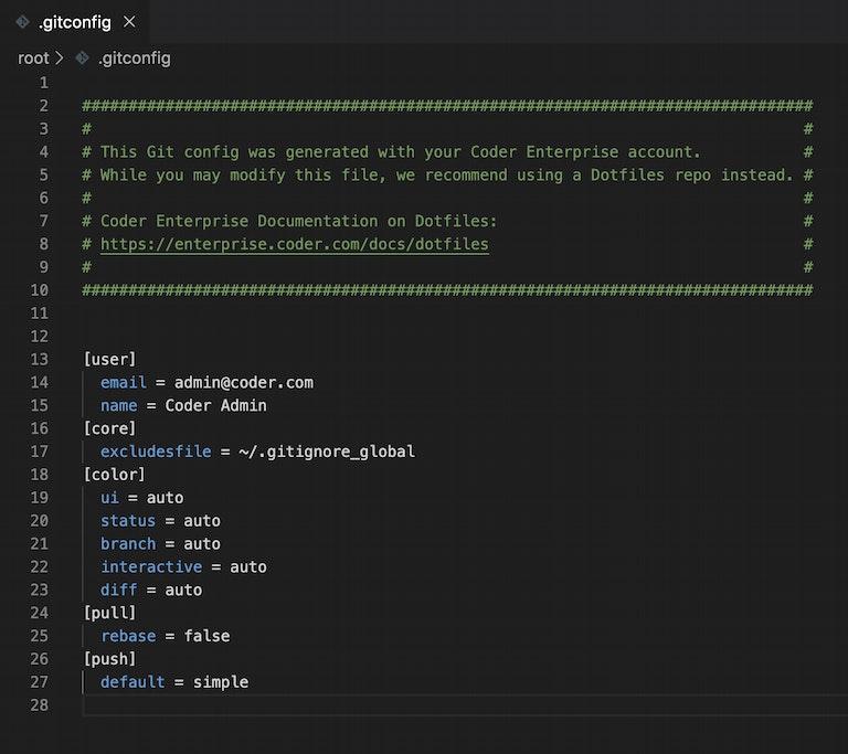 screenshot of .gitconfig file generated by Coder Enterprise v10.1