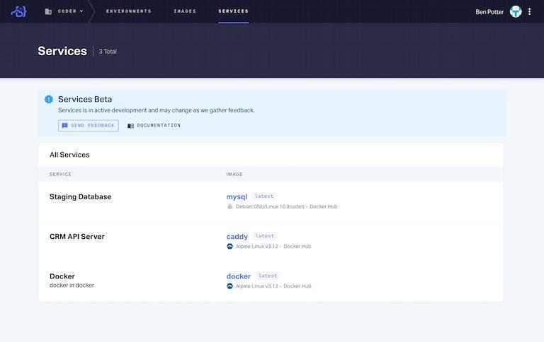 Coder Enterprise Services Screen