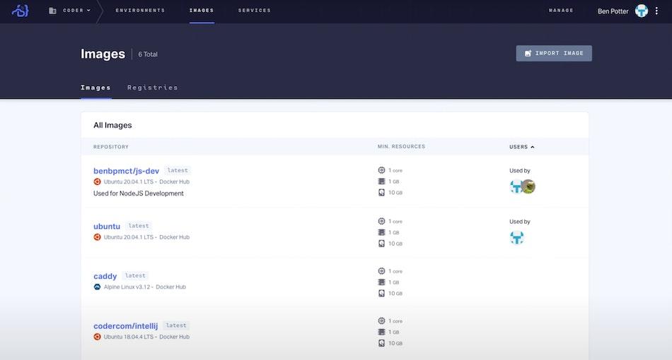Images screen in Coder Enterprise