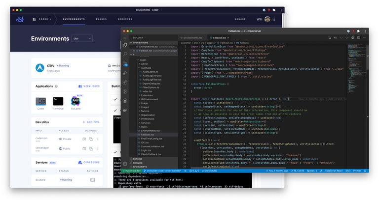 Screenshot of development window