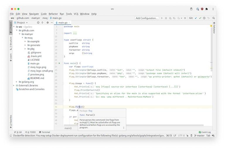 Screenshot of GoLand running in a browser window