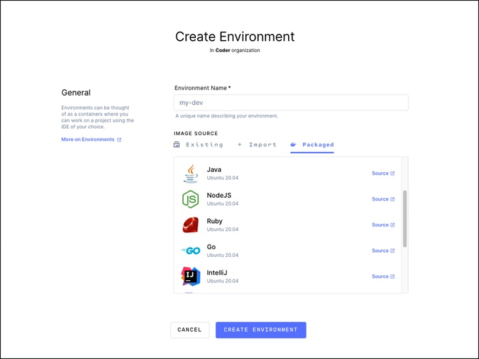 Coder New Environment Screen with Default Images