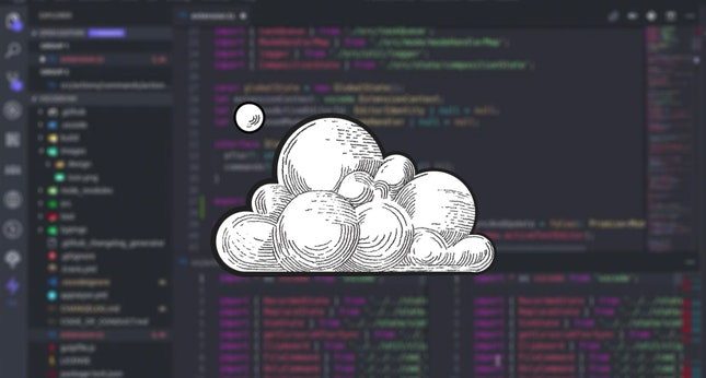 Drawing of a cloud imposed over a blurred background that shows the VS Code IDE (Evolution of the Cloud IDE)