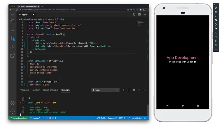Mobile development with Coder