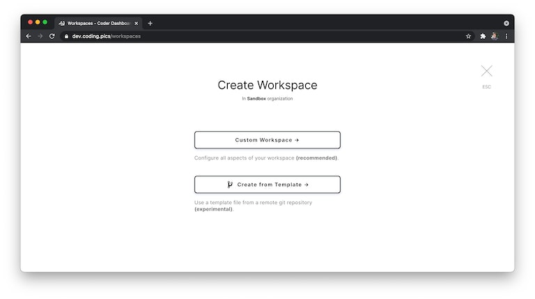 """Workspace creation screen with """"workspace template"""" enabled"""