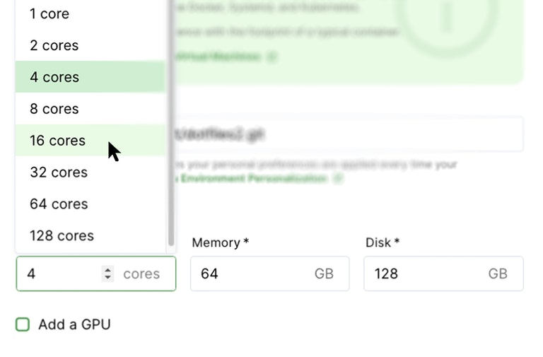 Adjusting workspace size in Coder