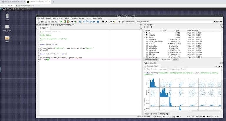 Screenshot showing Spyder running