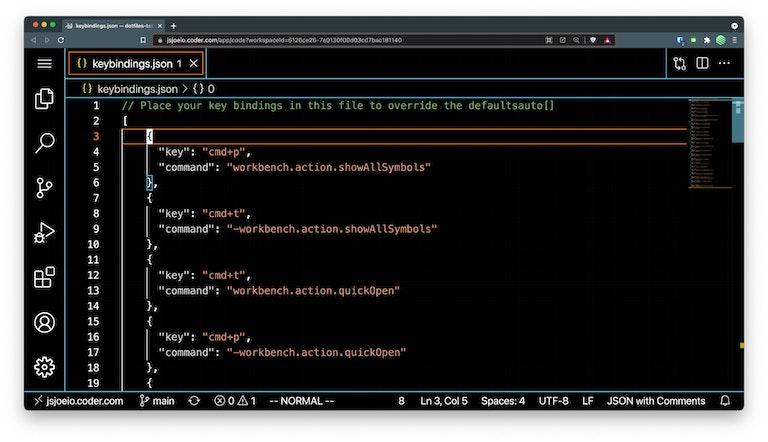 Screen capture of keybindings json file