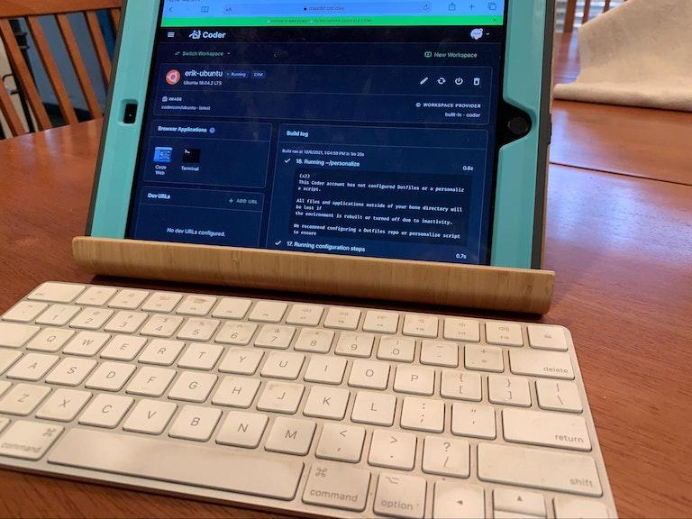An iPad running Coder