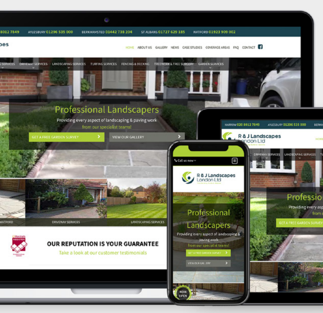 Whilst working with Adtrak, R&J Landscapes' website <span class=