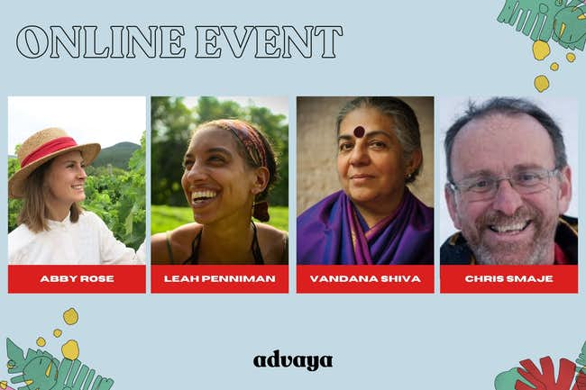 Leah Penniman, Vandana Shiva, Chris Smaje, Abby Rose, advaya event