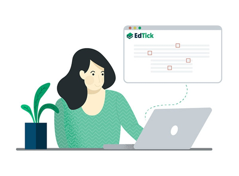 A teacher preparing an online course. EdTick