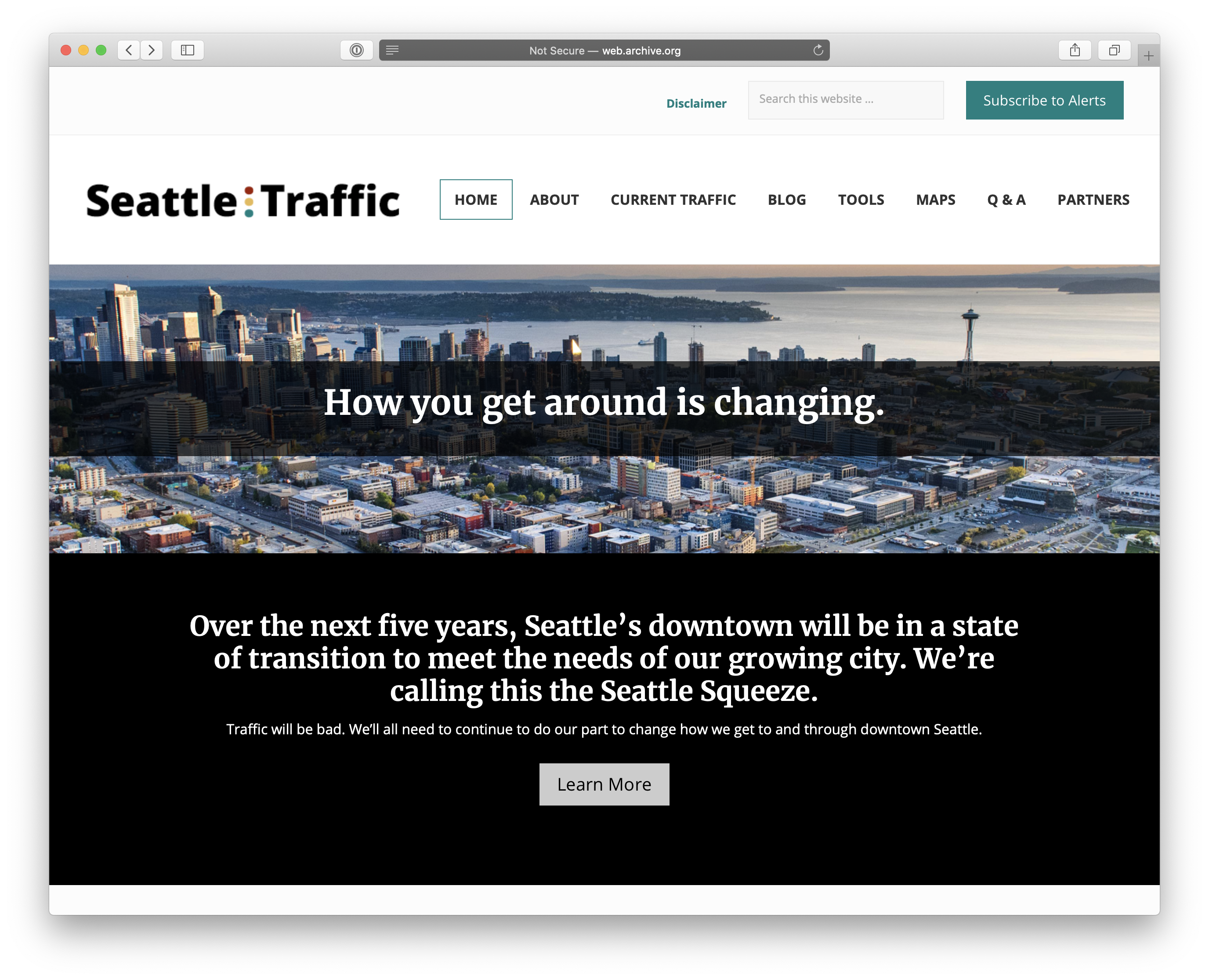 Seattle Traffic website before design changes