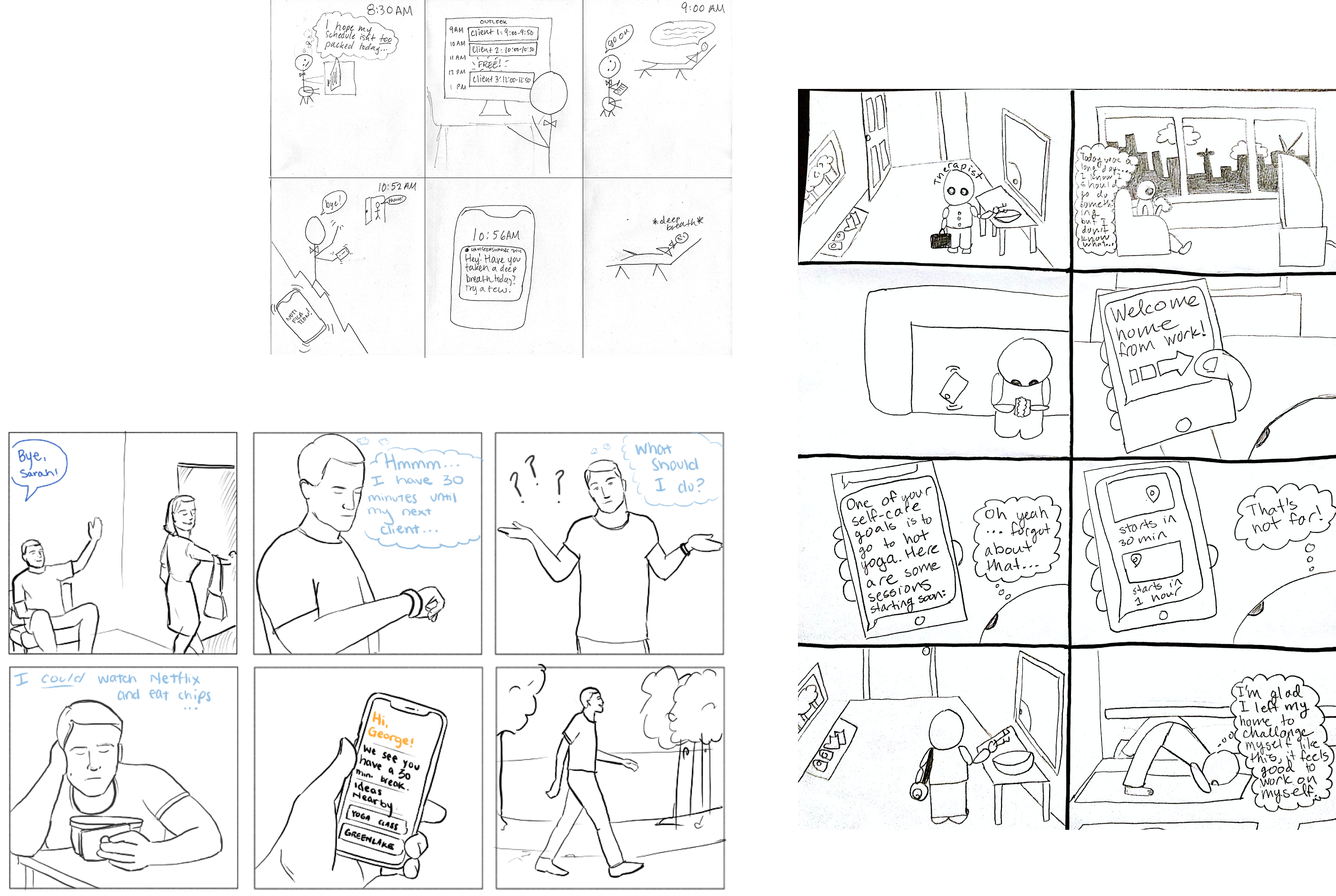 Storyboard screenshots; I apologize but I do not have accessible versions of these documents yet!