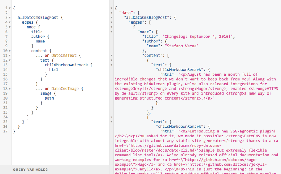GraphiQL and Gatsby.js