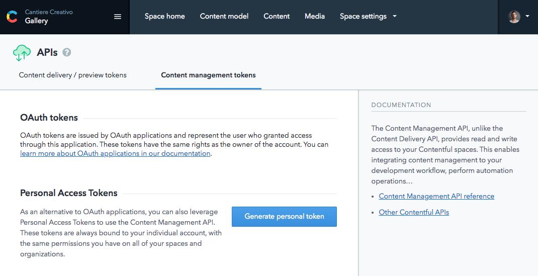 Content management token