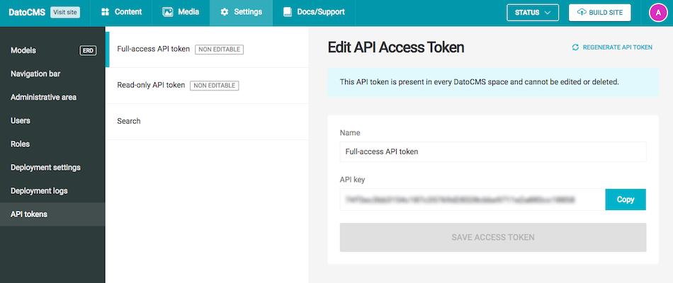 DatoCMS site full-access API token