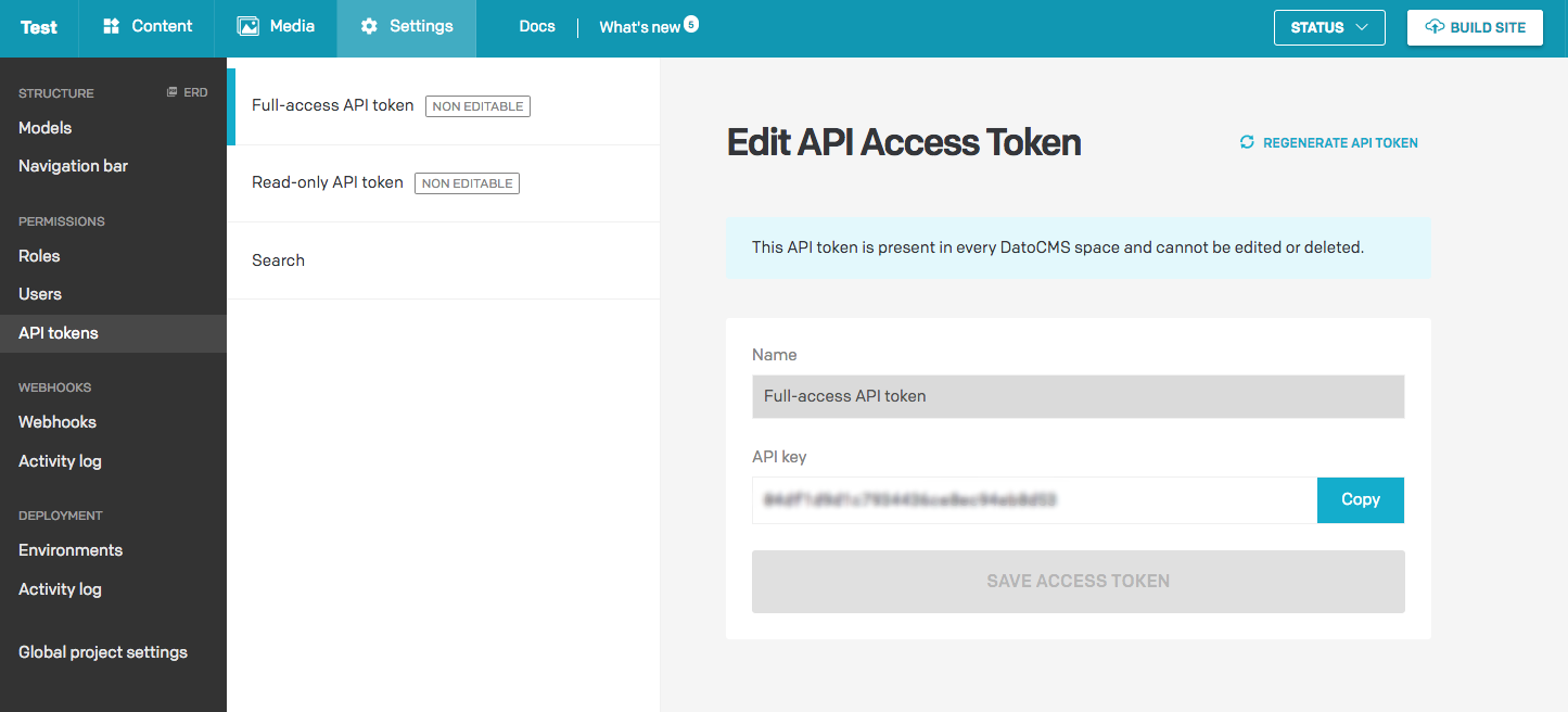 API token location in dashboard
