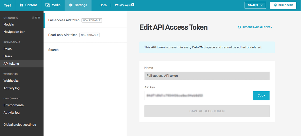 API token location in dashboard