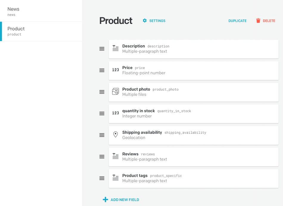 product fields