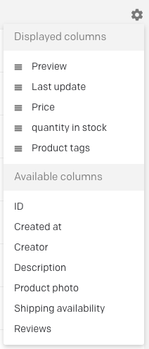 columns selection view