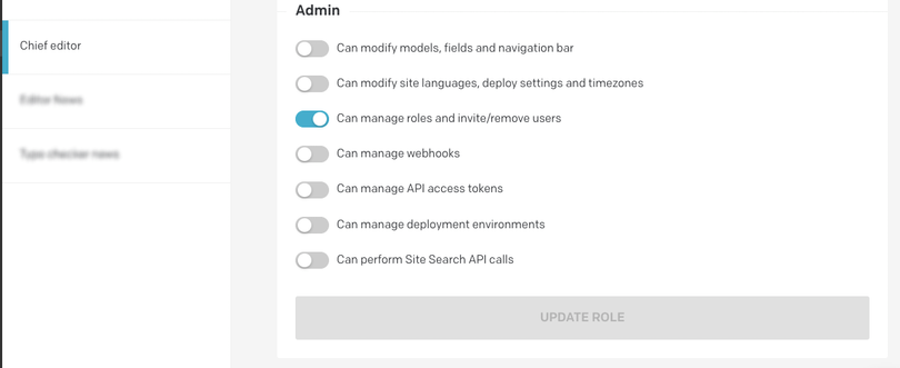 Additional option for the chief editor role