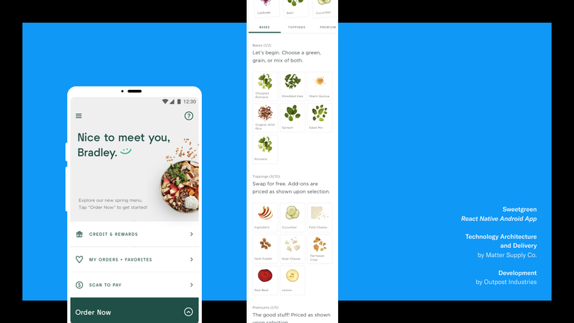 Android app for Sweetgreen made by Matter Supply Co