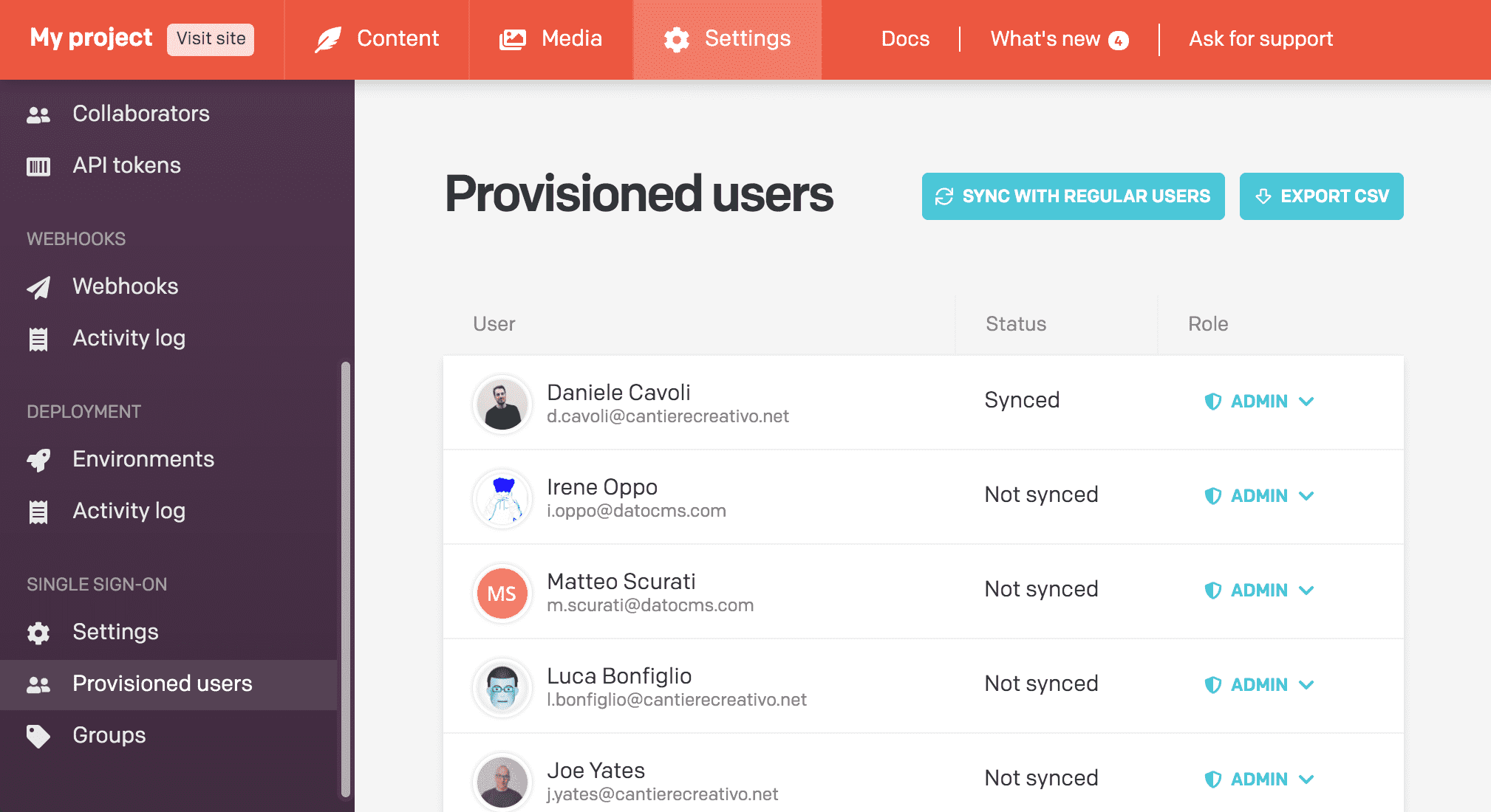 This is the list of the previsioned users
