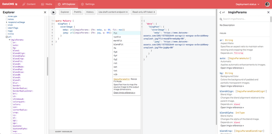 DatoCMS GraphQL query explorer helps you see all the different transformation from the get-go
