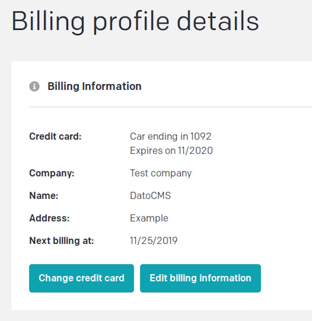 Plans, pricing and billing - Credit card change - DatoCMS Docs