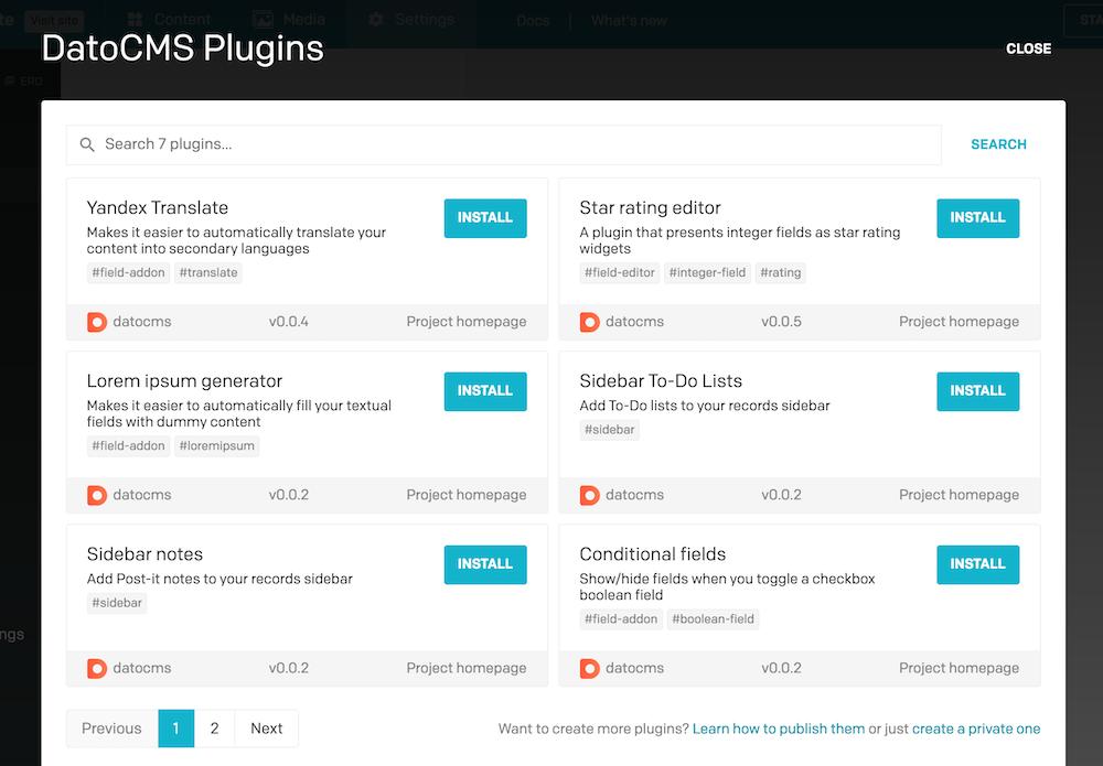 Plugins SDK - Installing plugins - DatoCMS Docs