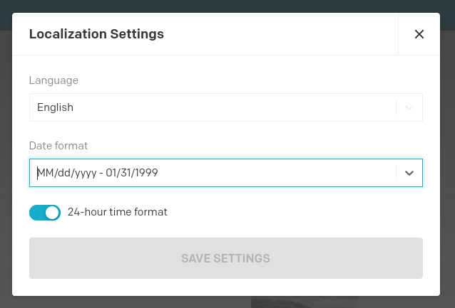 Localization settings