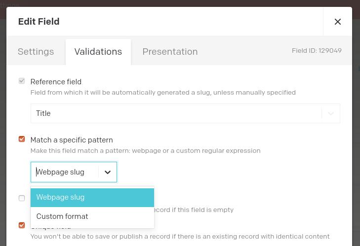 Custom slug validator