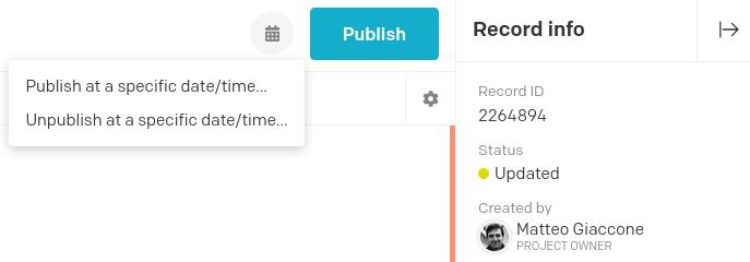Schedule publishing/unpublishing button