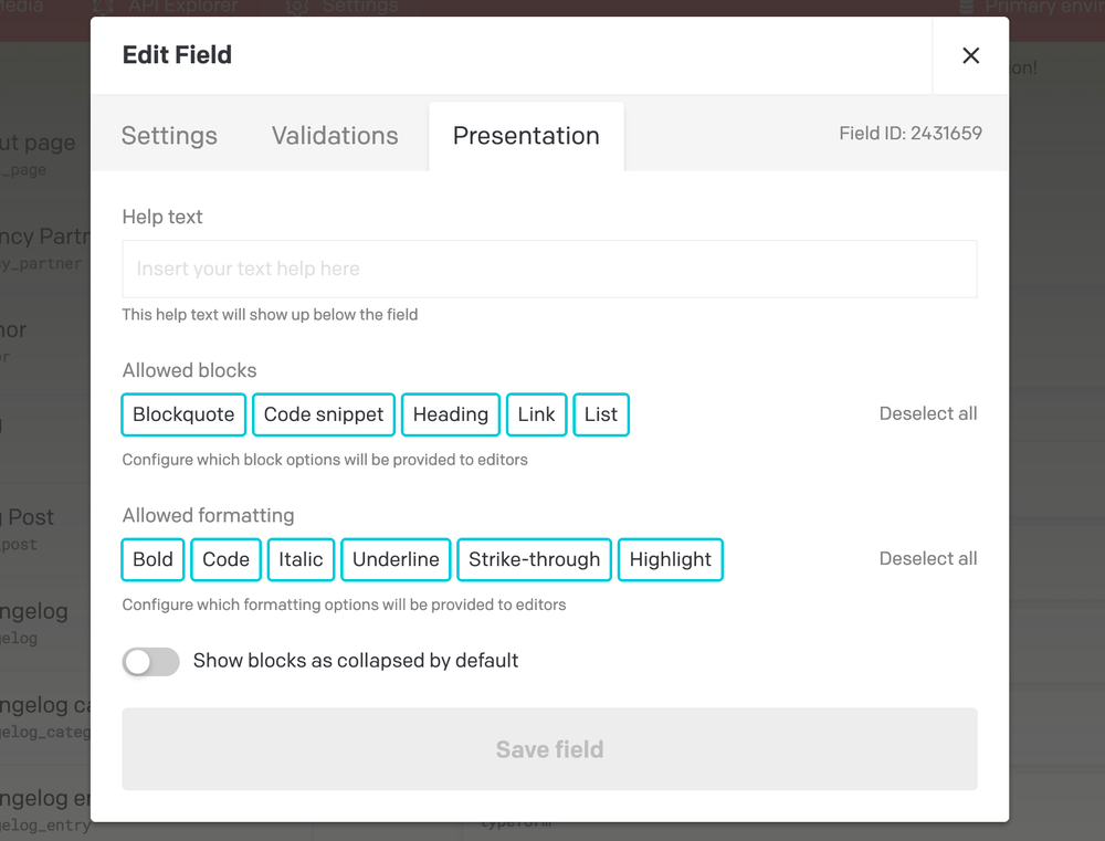 Content modelling - Structured text fields - DatoCMS Docs