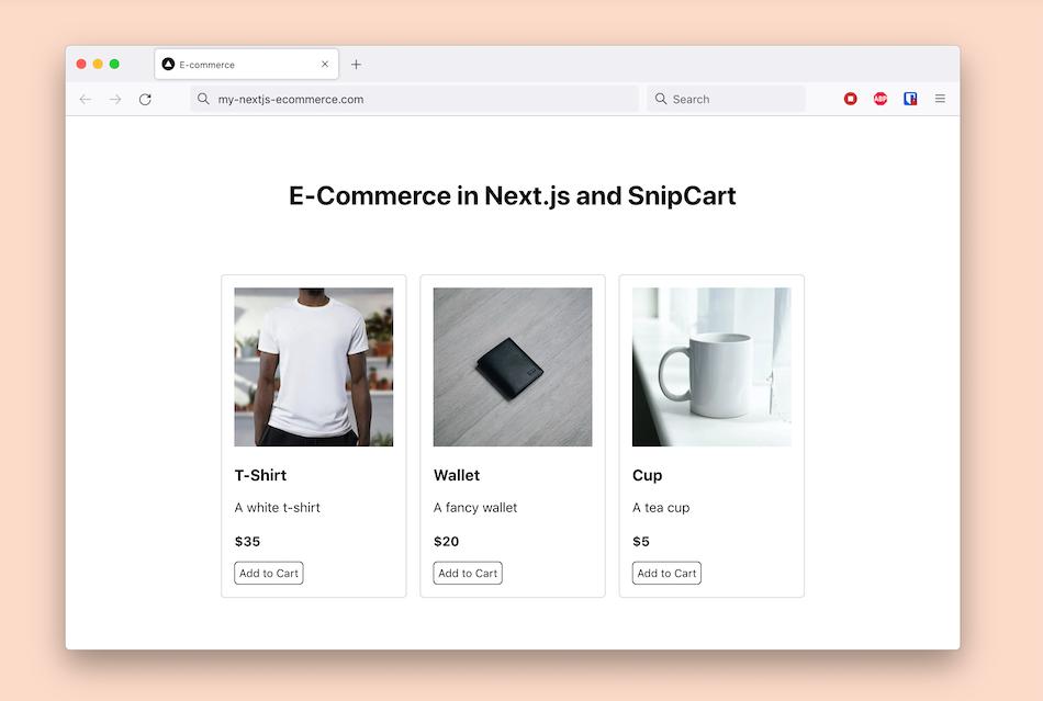 Ecommerce Next.js + Snipcart template