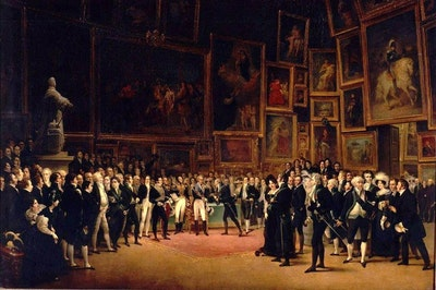 Painting by Francois-Joseph Heim: Charles X distributing awards to artists exhibiting at the Salon of 1824 at the Louvre.