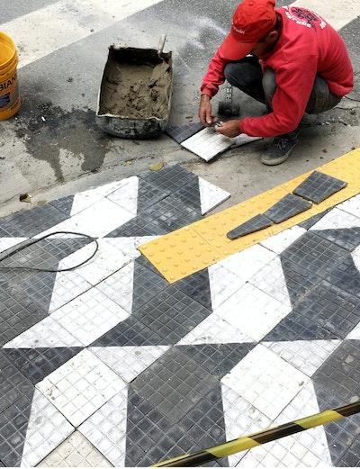 São Paulo paving representing the logo of Sao Paulo