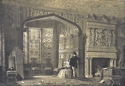 Bay-Window at Lyme Hall, Cheshire, England, 1839. Painting by Nash Joseph