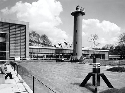 1958, Brussels, Architects: Gerrit Rietveld (1888–1964),  Jo van den Broek (1898–1978),  Jaap Bakema (1914–1981),  Joost Boks (1904–1986)