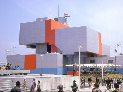 1970, Osaka, Architects: Carel Weeber (1937),  Jaap Bakema (1914–1981),  Jan Vrijman (1925–1997),  Wim Crouwel (1928)