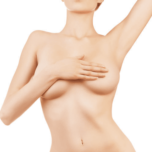Female color image covering breast with hand