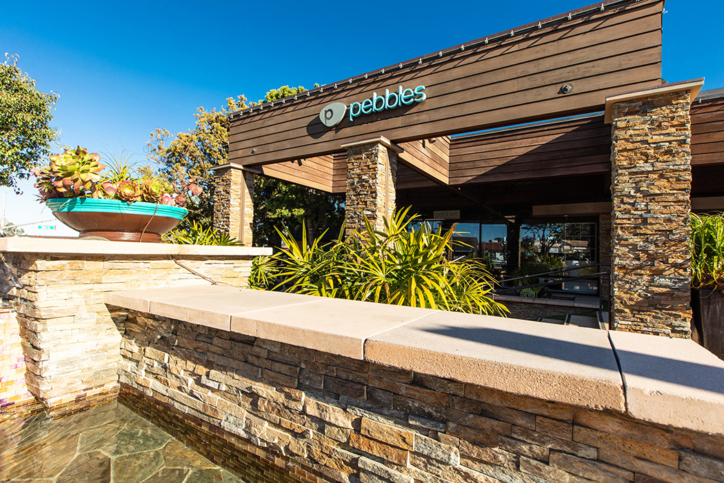 View of Pebbles storefront, part of Ranch & Coast Plastic Surgery