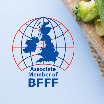 "Image with the ""Associate Member of BFFF"" logo next to frozen vegetable"