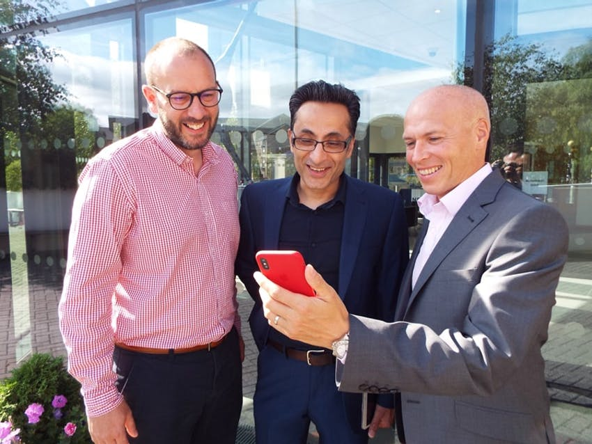 Jon Shayler of Erudus with Aman Shergill and James Clarkson of SwiftCloud